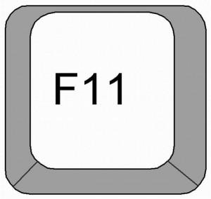 Wciśnij dwa razy F11 w Chrome, aby przełączyć tryb pełnekranowy