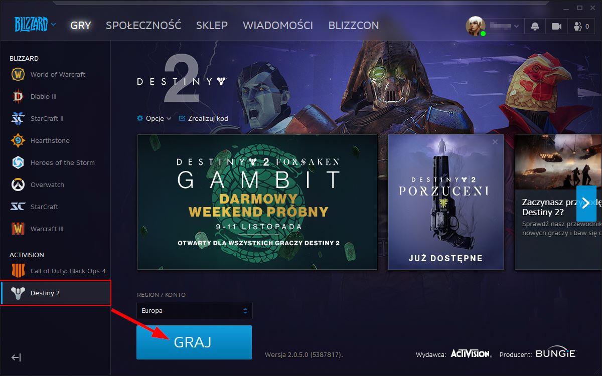 Włącz Destiny 2 przez Battle.net Launcher