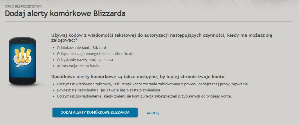 Dodaj alerty komórkowe Blizzarda