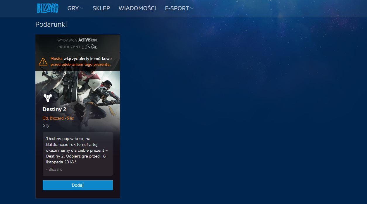 Odbierz podarunek z Destiny 2