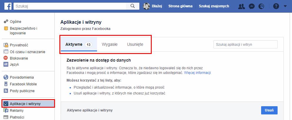 Wejdź do zakładki z Aplikacjami i witrynami na koncie Facebook