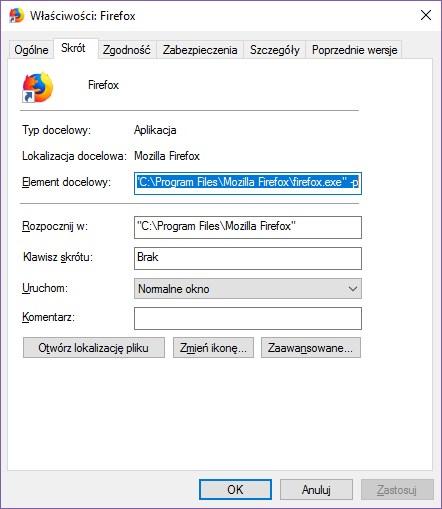 Właściwości skrótu Firefox
