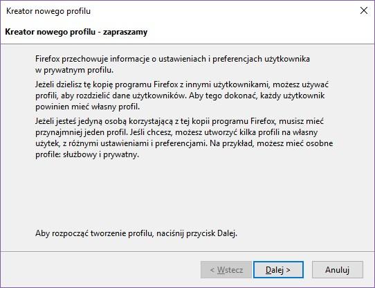 Kreator nowego profilu w Firefox
