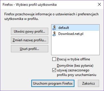 Firefox - wybór profilu przy uruchamianiu