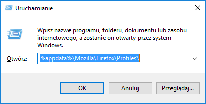 Otwórz folder z profilem Firefoksa
