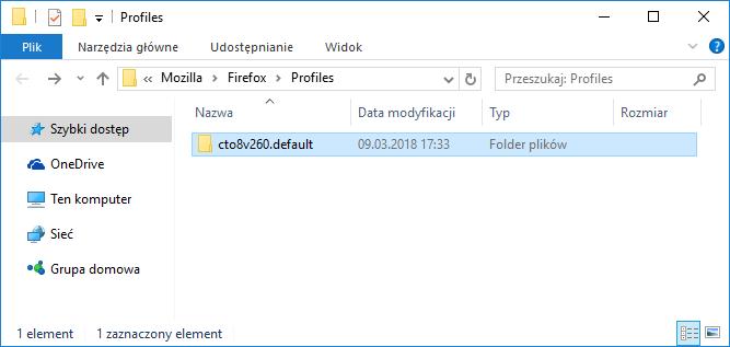 Folder z domyślnym profilem Firefox