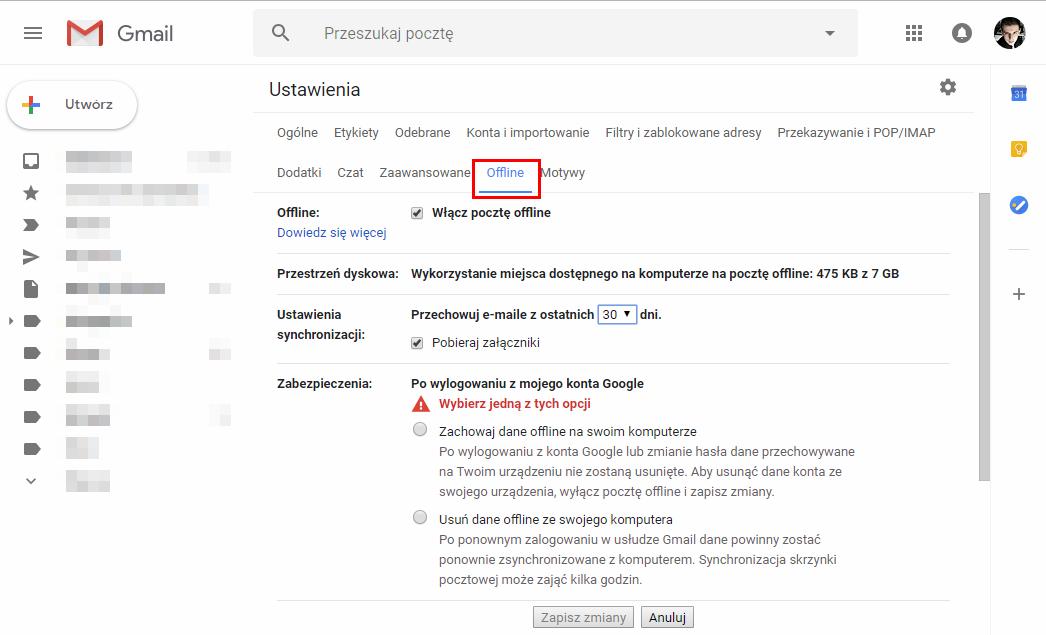 Ustawienia trybu offline w poczcie Gmail