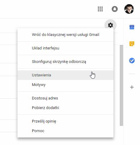 Wejdź do ustawień Gmaila