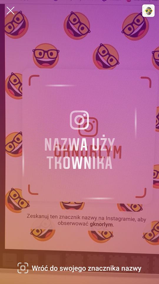 Skanowanie znacznika na Instagramie