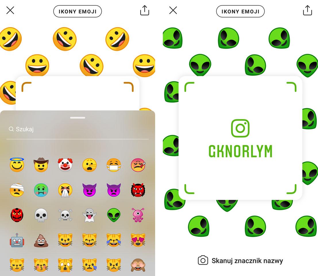 Nametag na Instagramie - tryb emoji
