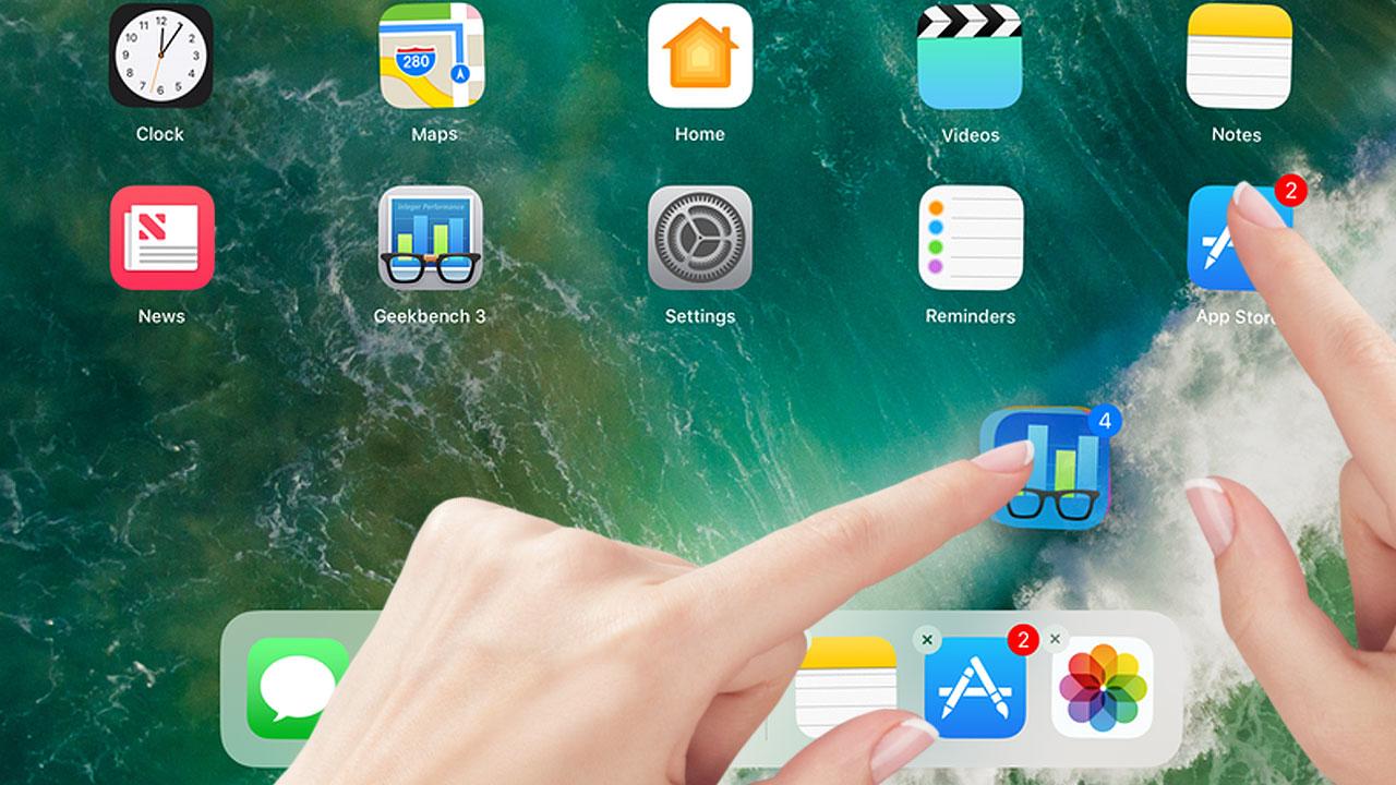 iOS 11 - przeciąganie wielu ikon jednocześnie