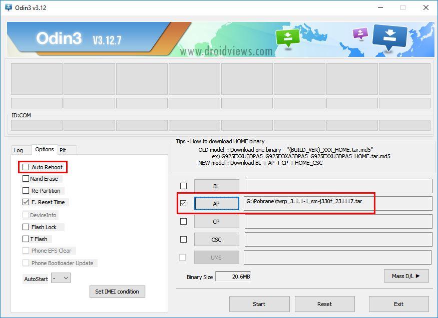 Wybierz plik TWRP w ODIN oraz wyłącz Auto Reboot