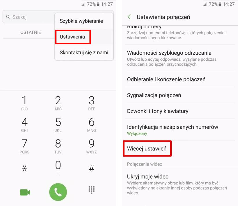 Wejdź do ustawień  połączeń w Samsungu