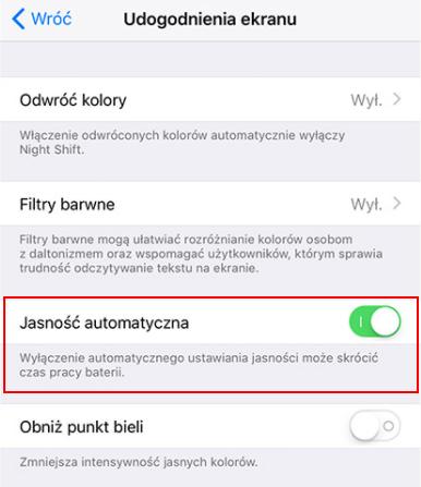 Opcje automatycznej jasności w iOS 11