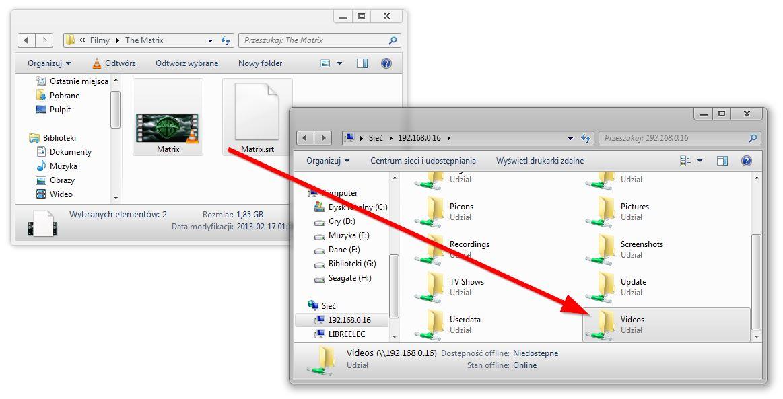 Kopiowanie plików z PC do KODI