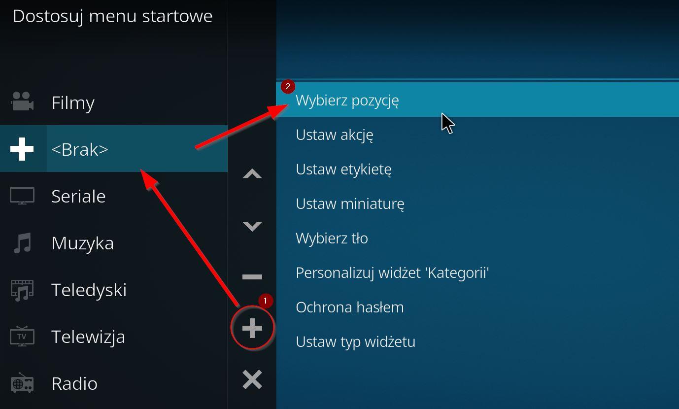 Tworzenie nowego przycisku w menu KODI