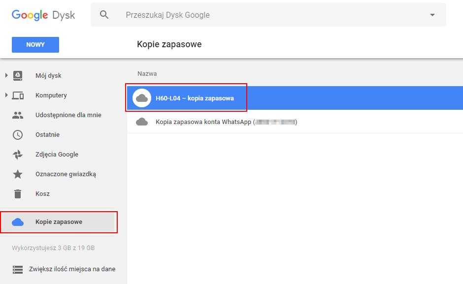 Kopie zapasowe Androida na koncie Google - podgląd