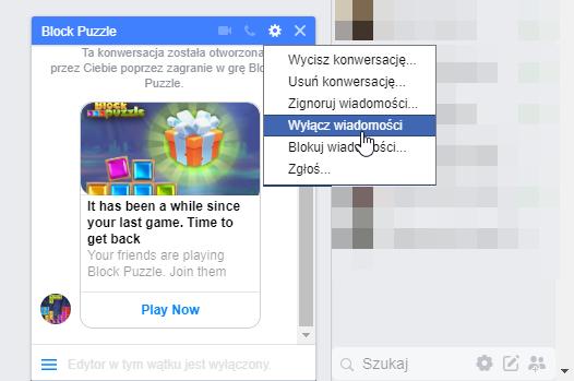 Wyłączanie wiadomości na Facebooku