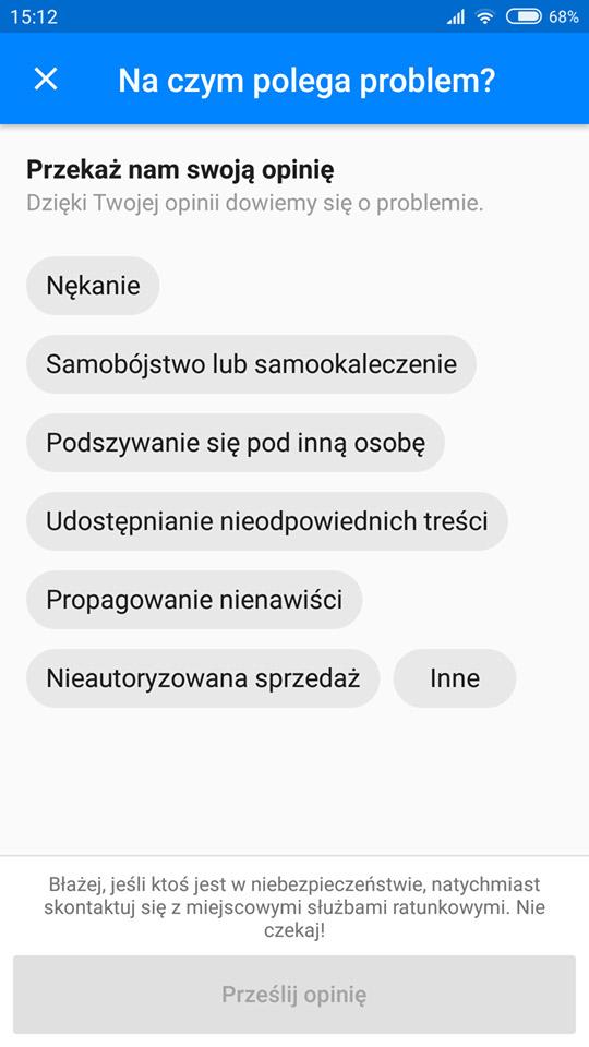 Wybierz powód zgłoszenia w aplikacji Messenger