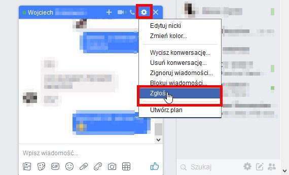 Zgłaszanie rozmowy na czacie Facebooka