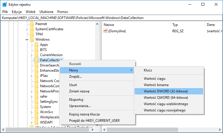 Utwórz nową wartość DWORD w kluczu DataCollection