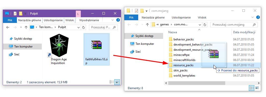 Przekopiuj tekstury do folderu resource_packs