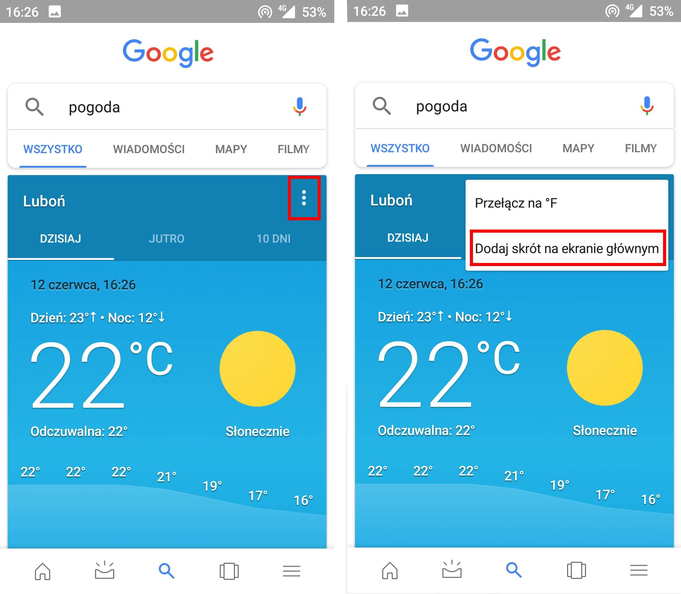 Dodaj skrót do pogody Google