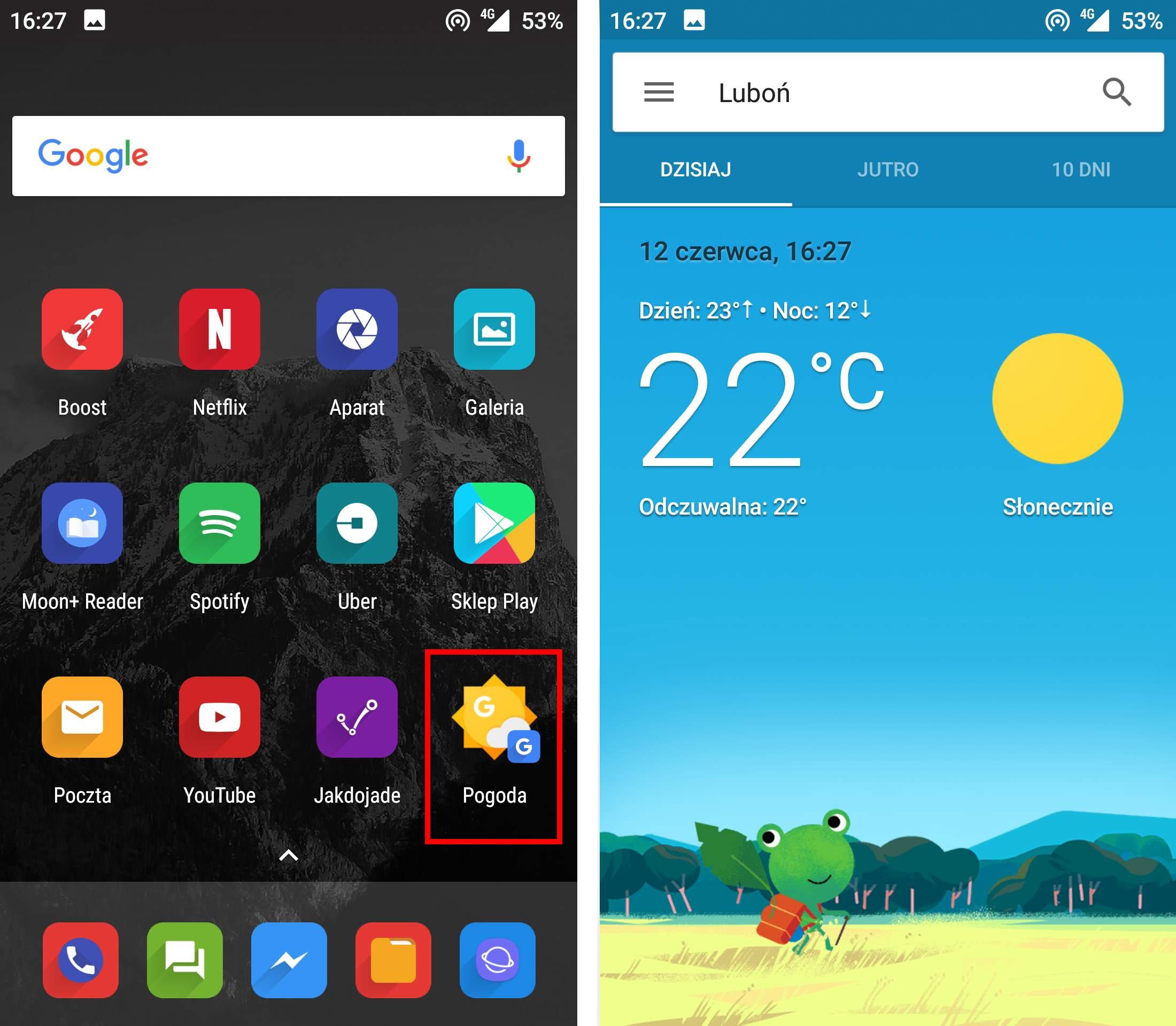 Włącz aplikację Pogoda Google