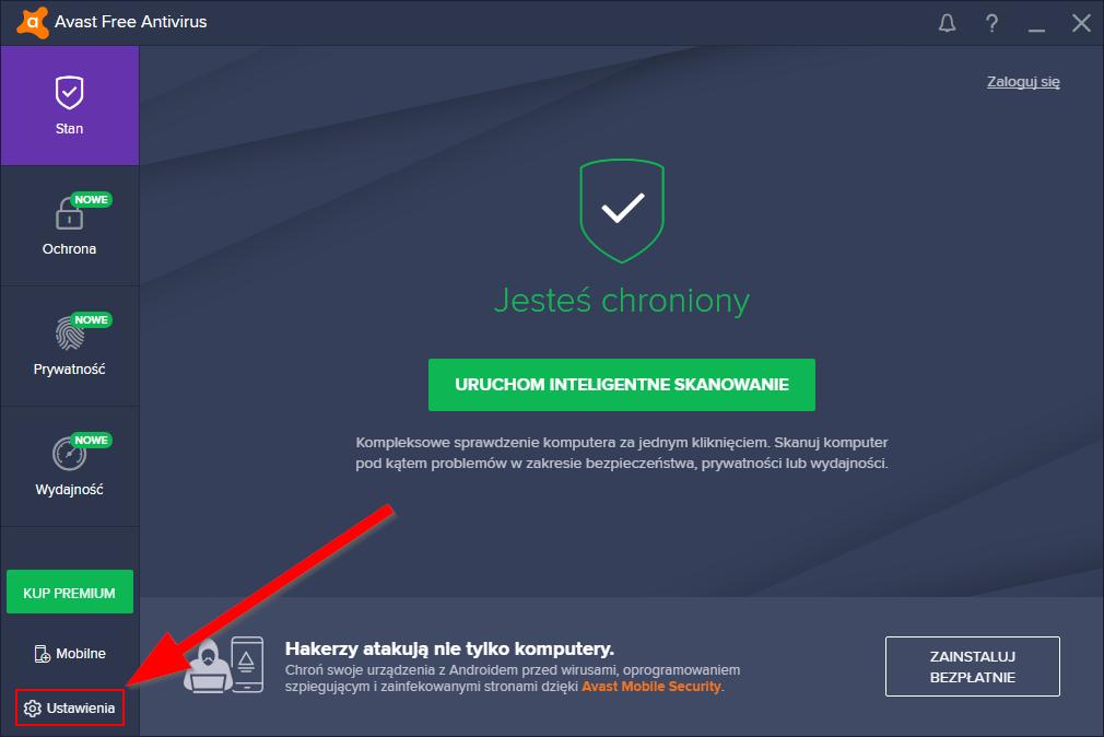 Wejdź do ustawień programu AVAST Free Antivirus