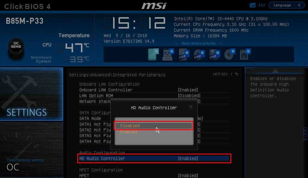 Wyłącz kartę dźwiękową w BIOSie
