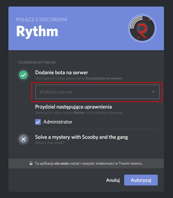 Wybierz swój serwer i autoryzuj bota Rythm