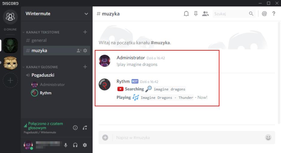 Rythm - odtwarzanie komendą !play