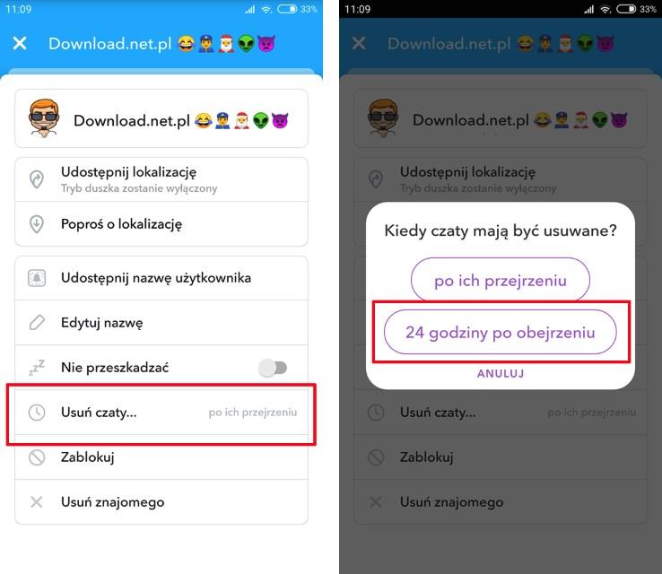 Zmień czas usuwania wiadomości w Snapchat