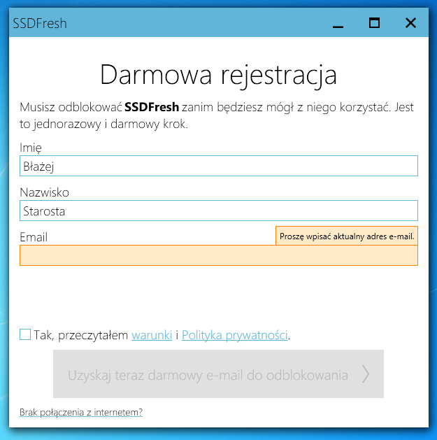 Aktywuj program SSDFresh