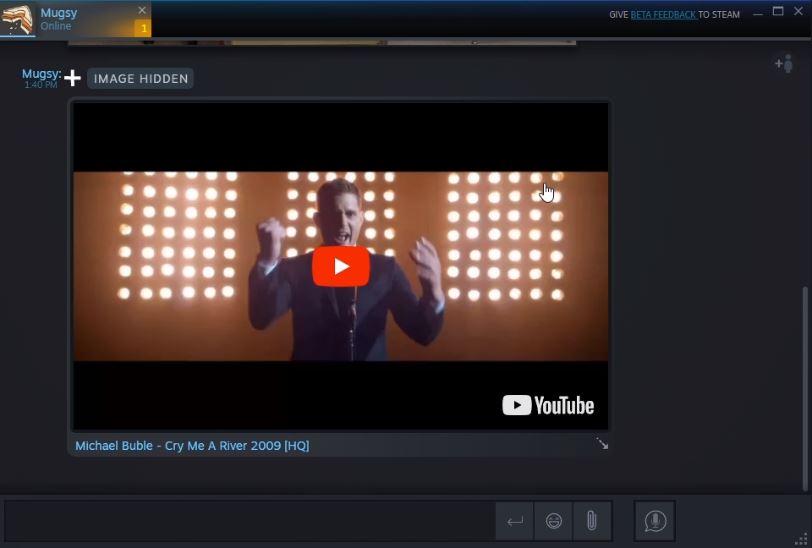 Okno rozmowy na Steam - osadzanie filmów