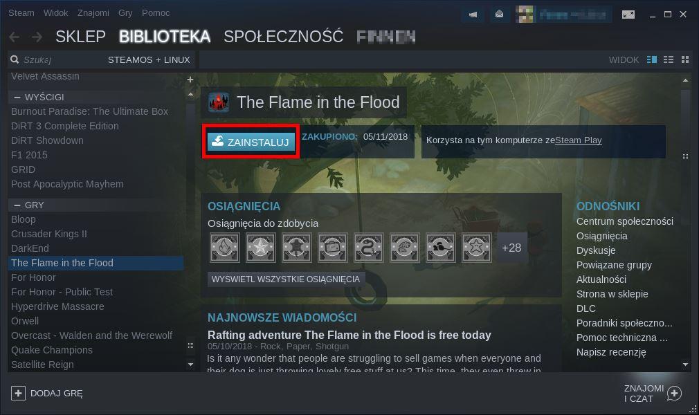 Zainstaluj grę Steam