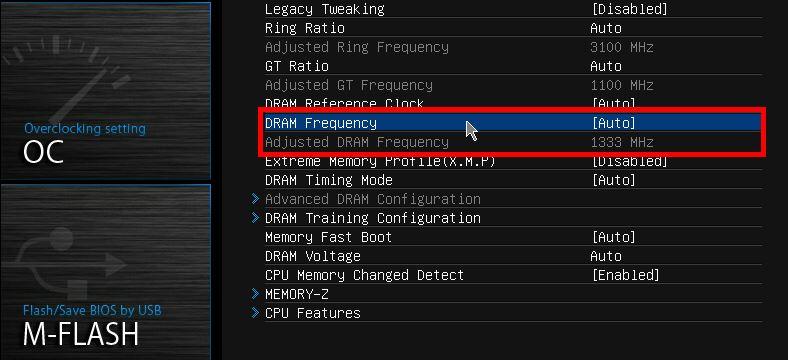 Wyszukaj opcji DRAM Frequency