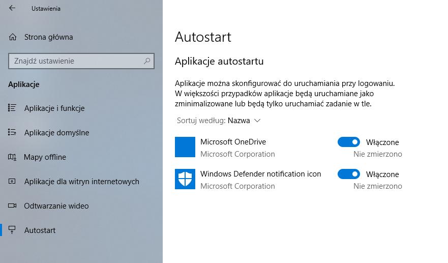 Ustawienia autostartu w Windows 10 April 2018 Update