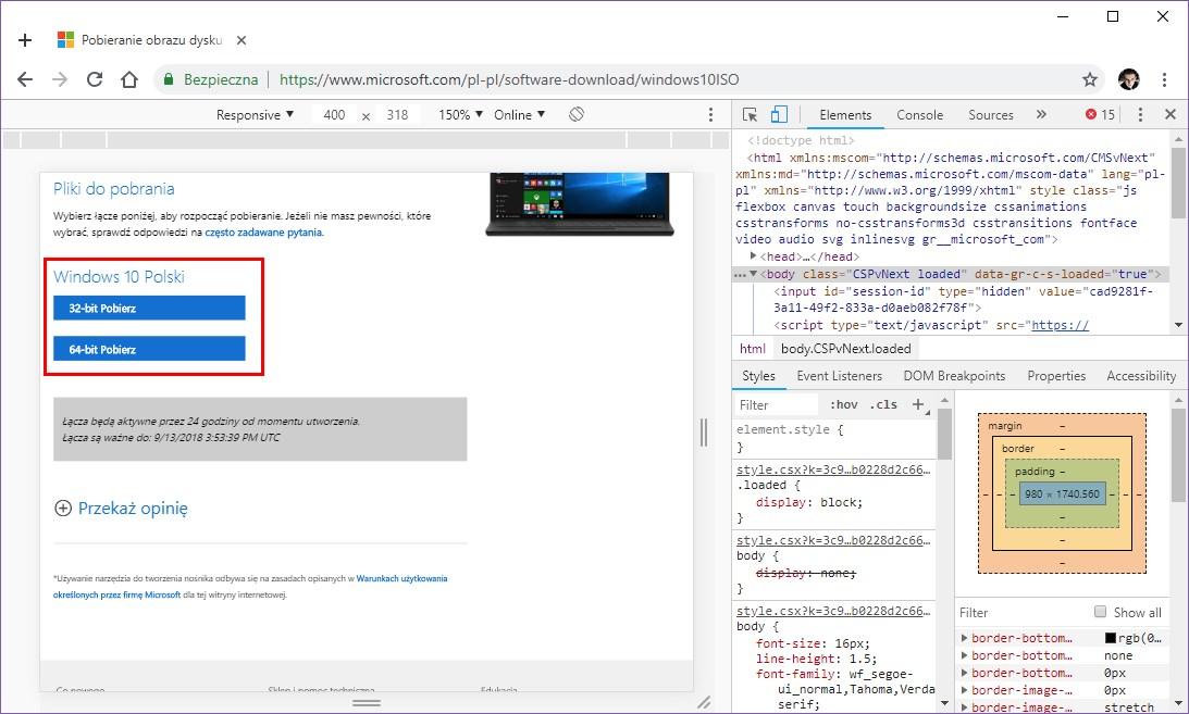 Pobieranie Windows 10 ISO 32-bit/64-bit w Chrome