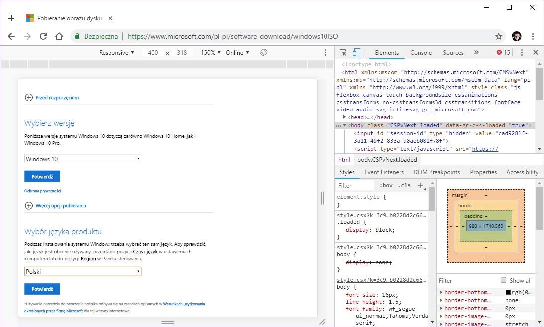 Wybierz wersję i język systemu do pobrania w Chrome