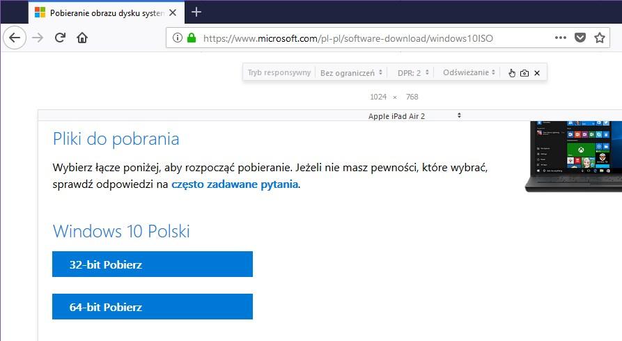 Wybierz architekturę Windows 10 do pobrania w Firefox