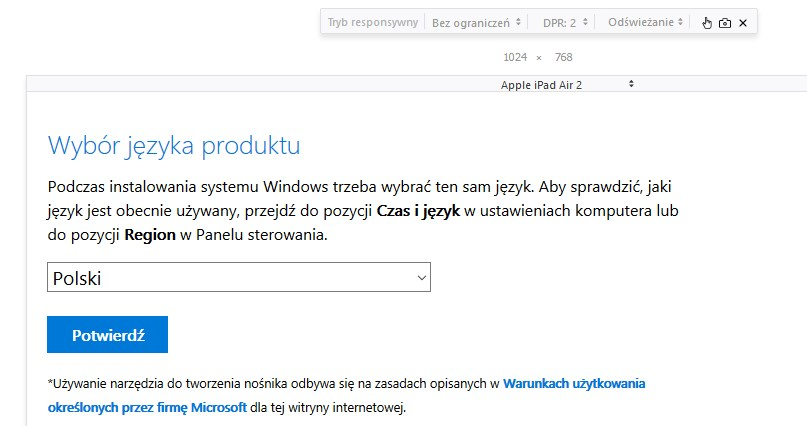 Wybierz język i wersję Windows 10 do pobrania w Firefox