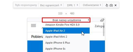 Wyświetl stronę w Firefox w podglądzie mobilnym