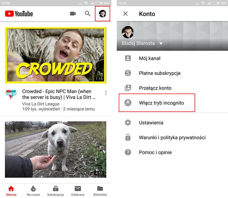 Włącz tryb incognito - YouTube