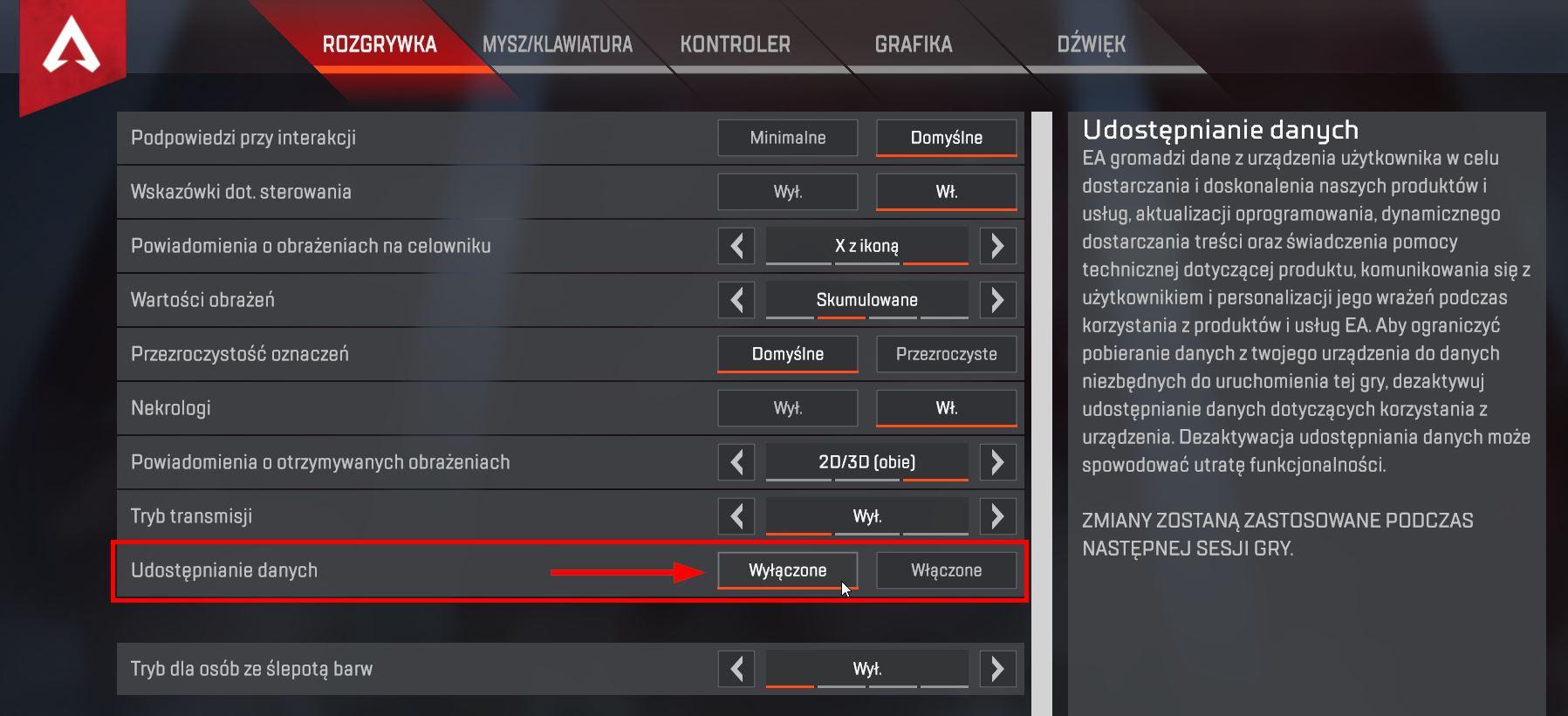 Wyłącz udostępnianie danych w Apex Legends