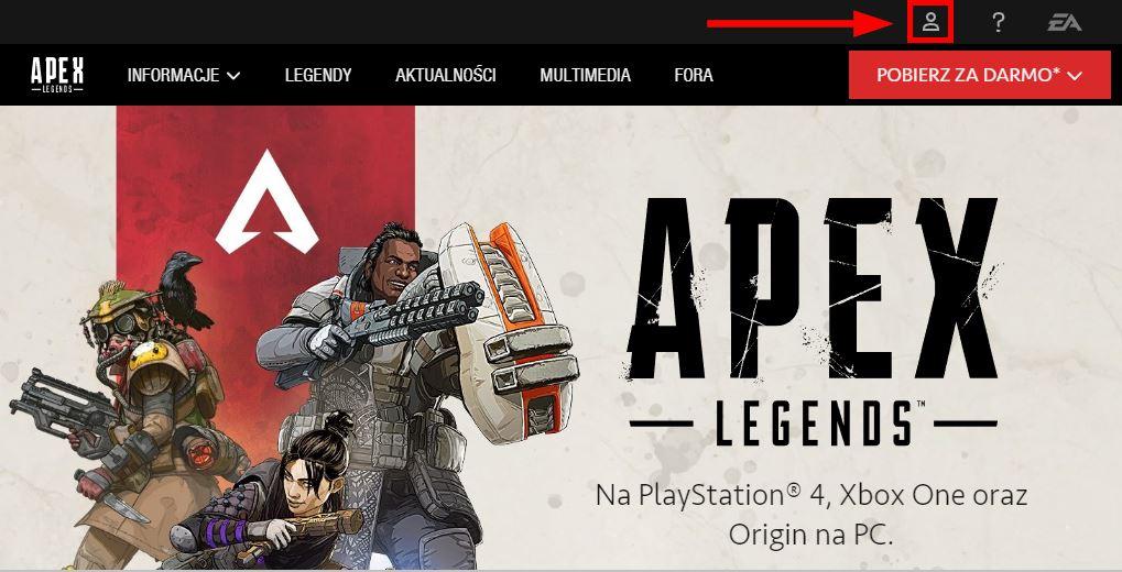 Zaloguj się na stronie EA (Apex Legends)