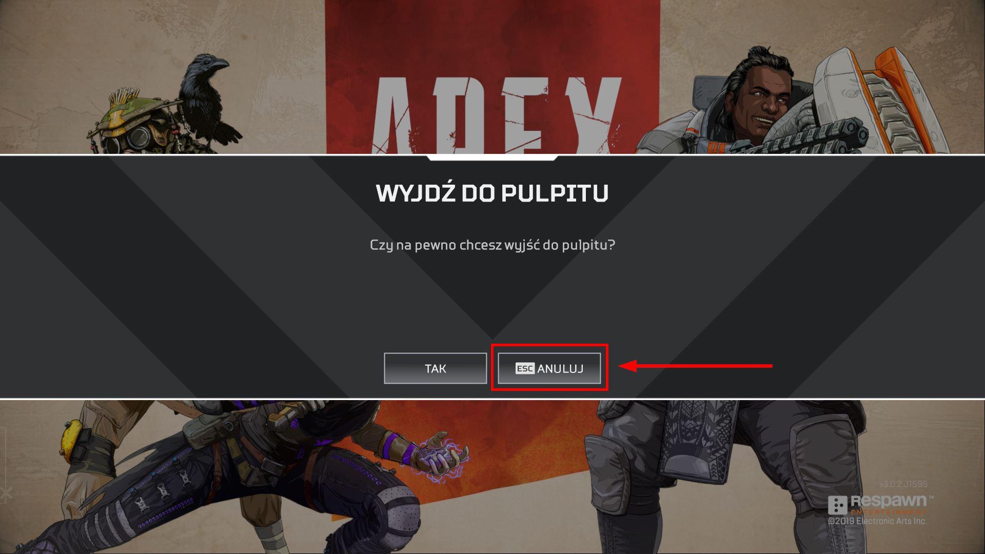 Wysuń menu gry i wciśnij przycisk