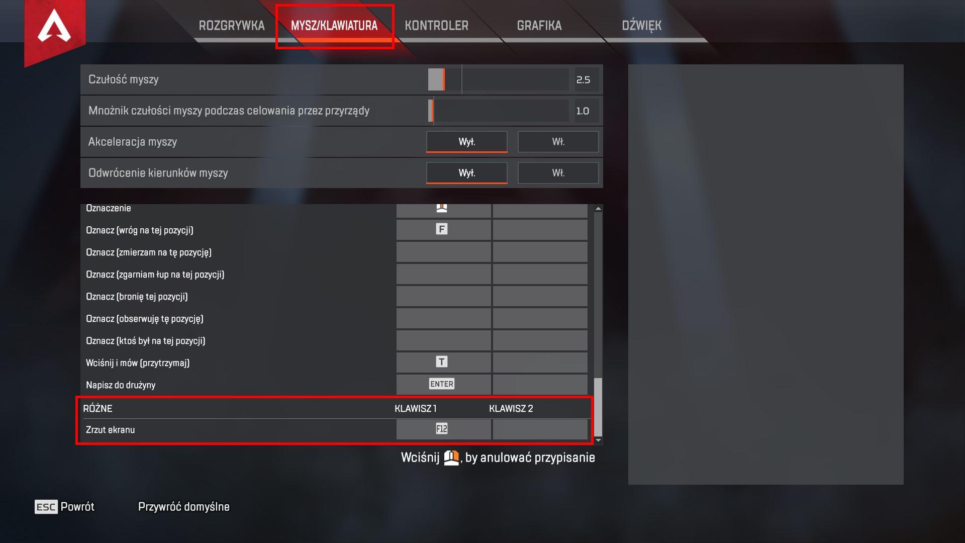 Zmień klawisz przypisany do funkcji zrzutu ekranu w Apex Legends