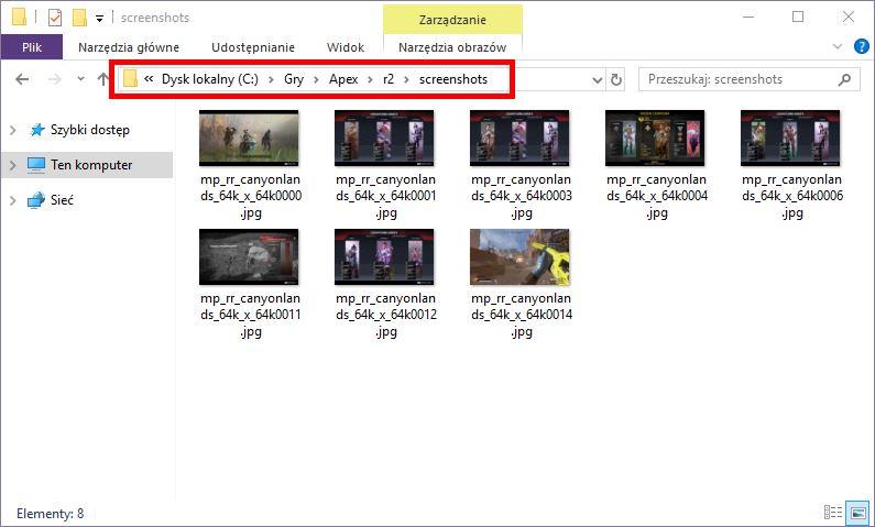 Folder zrzutów ekranu w Apex Legends