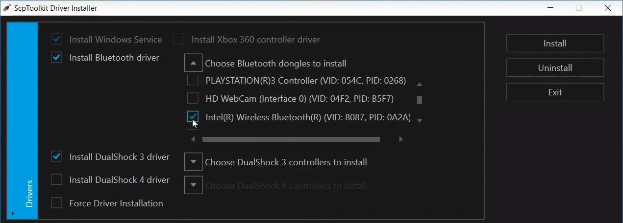 Zainstaluj obsługę Bluetooth i wybierz swój adapter Bluetooth